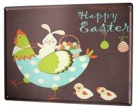 Tin Sign XXL Retro Happy Easter