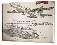 Tin Sign XXL Retro Airplane boat trip
