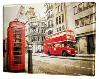 Tin Sign XXL Wanderlust City London red bus phone