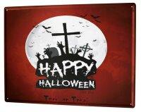 Tin Sign XXL Retro Happy Halloween