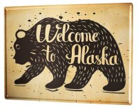 Tin Sign XXL Holiday Travel Agency welcome to alaska