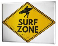 Tin Sign XXL Warning Labels Prohibition Surf zone