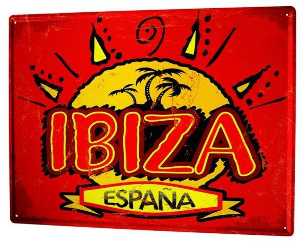 Blechschild XXL Urlaub Reisebüro Ibiza Spanien