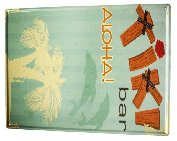 Blechschild XXL Abenteurer Hawaii Aloha