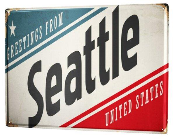 Blechschild XXL Reisen Küche Seattle USA