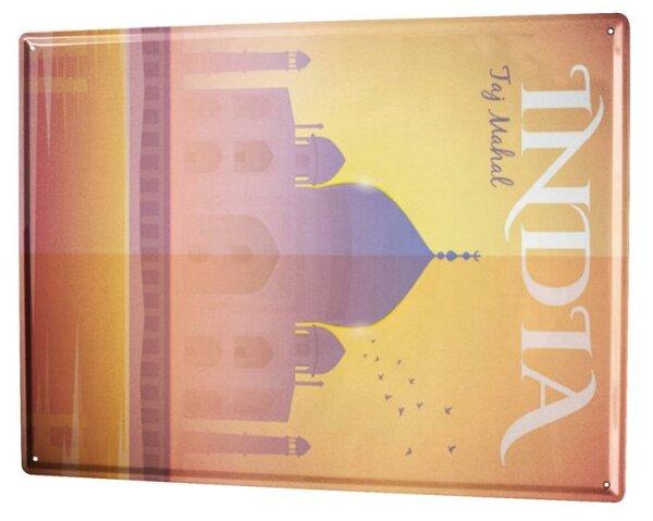 Blechschild XXL Weltenbummler Indien Taj Mahal
