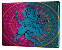 Tin Sign Feng Shui Picture Elephant Ganesha India