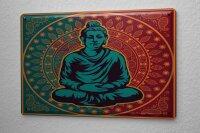 Tin Sign Asian Art Buddha balance Japan China Vintage