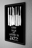 Tin Sign Retro keep calm listen jazz