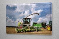 Blechschild Nostalgie Traktor Mähdrescher