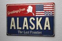 Tin Sign Holiday Travel Agency Greetings from Alaska