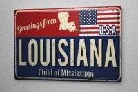 Tin Sign Holiday Travel Agency Greetings from Louisiana