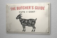 Tin Sign Kitchen Butcher Meat Cut Goat