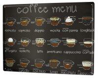 Tin Sign Coffee Cafe Bar coffe menu