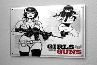 Blechschild Militär Frauen und Waffen