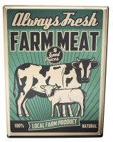 Tin Sign Kitchen Cow Meat