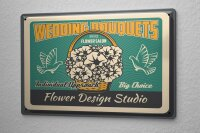 Tin Sign Wedding Flowers Pigeons Wedding