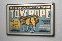 Tin Sign Vintage Car Towing rope car