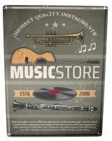 Blechschild Bar Party Musikladen Guitarre Schallplatte