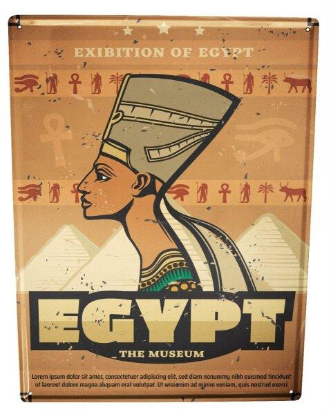 Tin Sign Pharaoh Sun God Egypt Archaeology Vintage