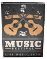 Blechschild Bar Party Musik Festival Gitarre