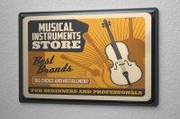 Blechschild Bar Party Musikinstrumente Guitarre