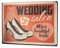 Tin Sign Just Married Ravtive Wedding Shoes