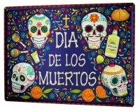 Tin Sign Fun Ravtive Dia de los Muertos