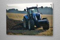 Blechschild Nostalgie Traktor Feld Pflug