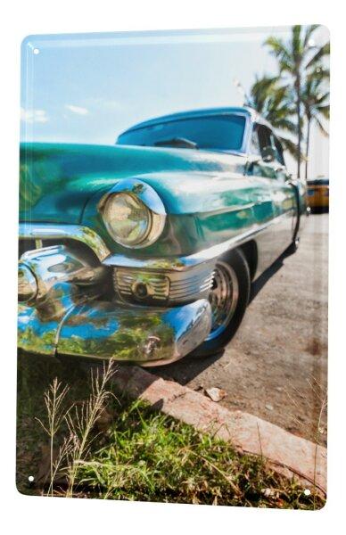 Blechschild XXL Garage blauer Oldtimer Auto Tankstellen