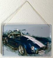 Tin Sign XXL Garage old blue car paint