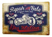 Tin Sign XXL Motorcycle Garage Repair Sale Gas Station