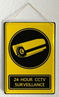 Tin Sign XXL Retro Art 24 hour CCTV