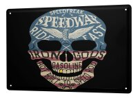 Tin Sign XXL Fantasy Gothic speedway skull