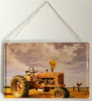 Tin Sign XXL Retro Tractor Factory Nostalgia Field Farmer