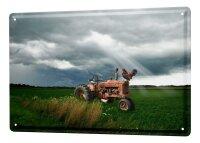 Tin Sign XXL Nostalgic Tractor Ravtive cock field