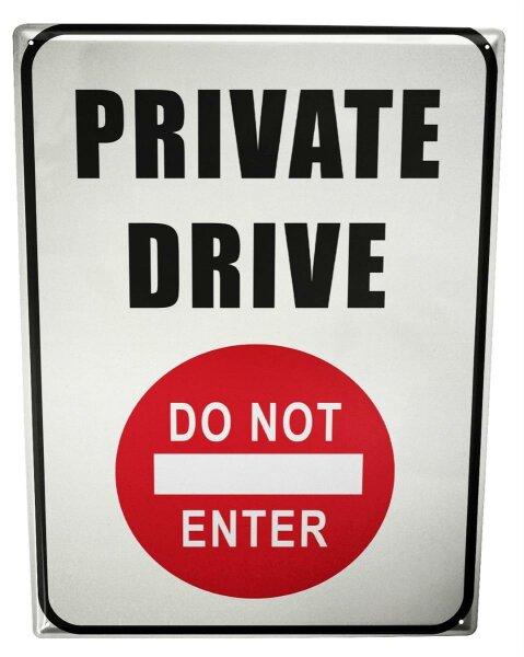 Tin Sign XXL Retro Art Private Drive Do Not Enter