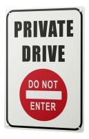 Tin Sign XXL Retro Art Private Drive Do Not Enter