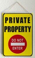 Tin Sign XXL Retro Art Private Property Do Not Enter