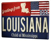 Tin Sign XXL Holiday Travel Agency Greetings from Louisiana
