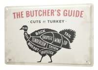 Tin Sign XXL Kitchen Butcher guide cuts of turkey