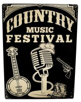 Tin Sign XXL Kitchen Microphone Hat Country Music Festival