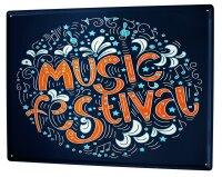 Tin Sign XXL Kitchen Music Festival Sheet Music Flowers