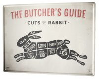 Tin Sign XXL Kitchen Butcher meat cut rabbit