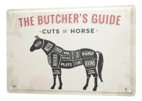 Tin Sign XXL Kitchen Cuts of horse - Butcher´s Guide