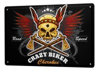 Tin Sign XXL Motorcycle Garage Crazy Biker