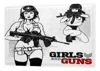 Tin Sign XXL Retro Girls and Guns