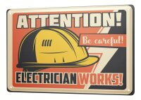 Tin Sign XXL Office Workshop Attention Electrician...