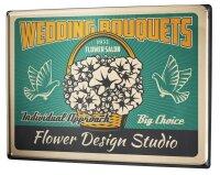 Tin Sign XXL Wedding Flowers Pigeons Wedding