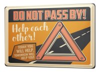 Tin Sign XXL Fun Warning Triangle Help